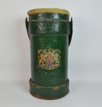 A Leather Gun Powder Bucket with Royal Coat of