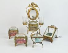Five French Gilt Metal & Glass, Jewellery / Pocket