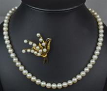 Cultured Pearl Strand & Brooch Set