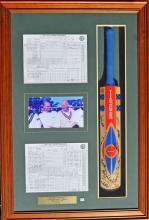 Dennis Lille's Farewell Framed Signed Cricket Bat
