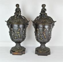 A Pair Bronze Neoclassical Style Covered Urns