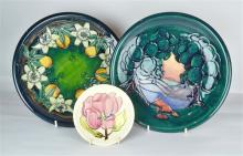 Two Moorcroft Pottery Chargers and Pin Dish