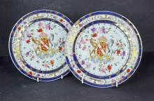 A Pair Continental Armorial Cabinet Plates