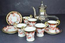 An English Porcelain Coffee Set and Coffee Pot