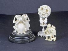 Three Pcs of Carved Ivory, c.1920
