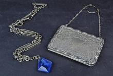 A Silver Fob Chain and Card Case