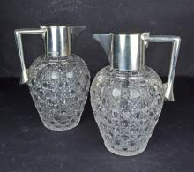 A Pair Victorian Sterling Silver Hobnail Cut Crystal