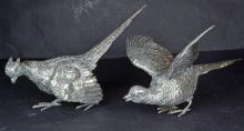 A Pair Sterling Silver Game Bird Figures