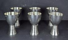 A Set of Six Sterling Silver Wine Goblets by