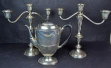 A Pair Sterling Silver Candelabras and English