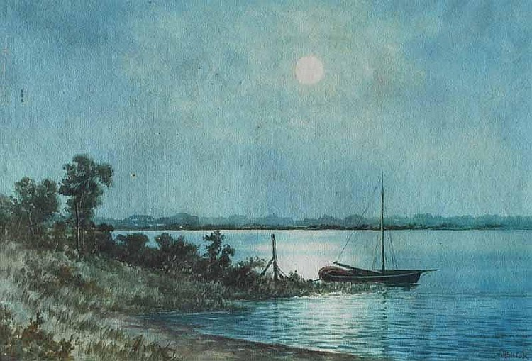 James Ashton (1859-1935) Moonrise Over the River