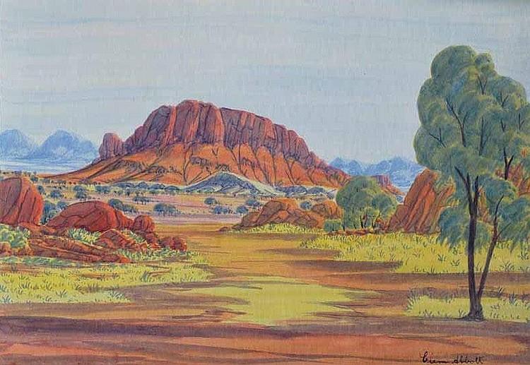 Clem Abbott (1939-1989) Haast's Bluff Watercolour
