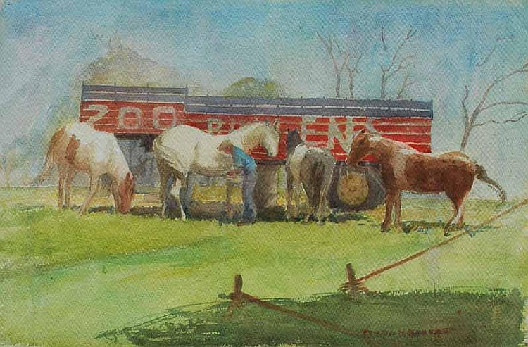 Portia Bennett (1898-1989) Horses and Trailer