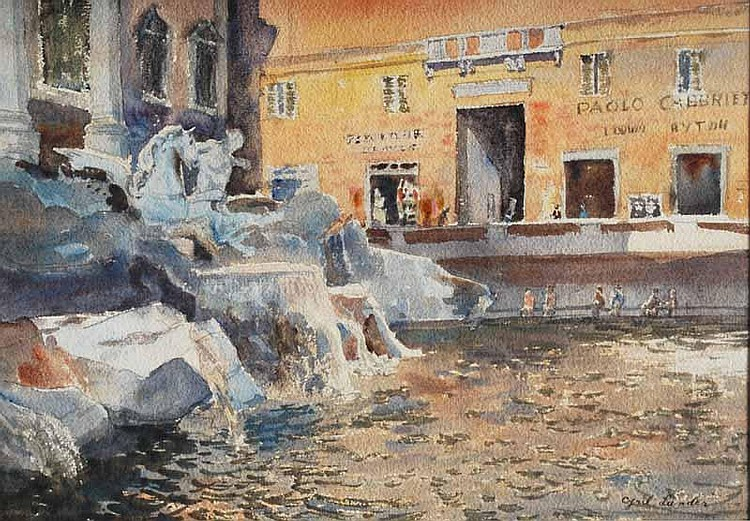 Cyril Lander (1892-1983) Roman Fountain Scene