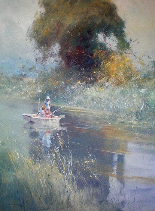Robert Hagan (b.1947) Fishing on the River Oil on
