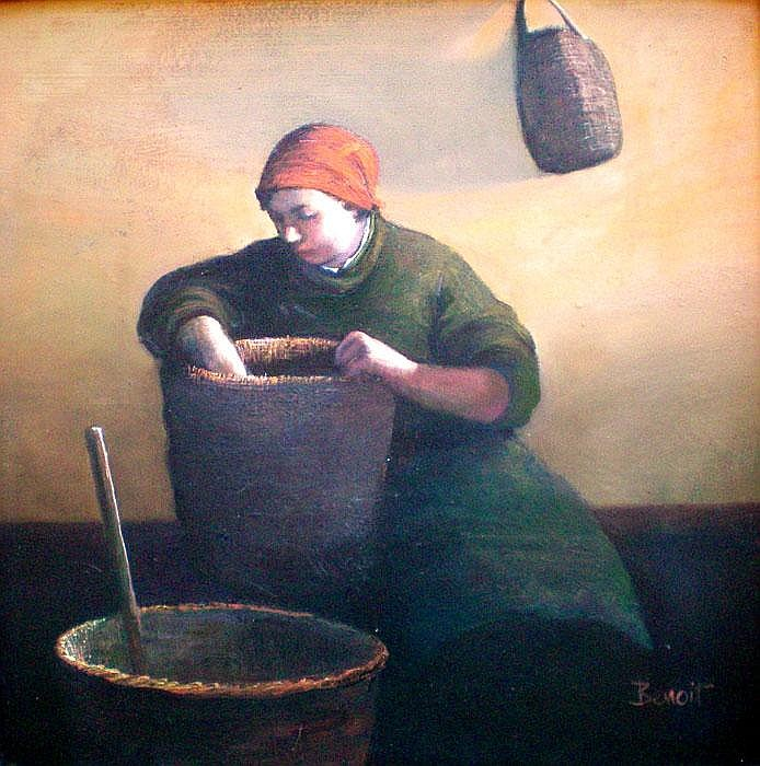 Margaret Benoit (b. 1941) Woman with Baskets Oil