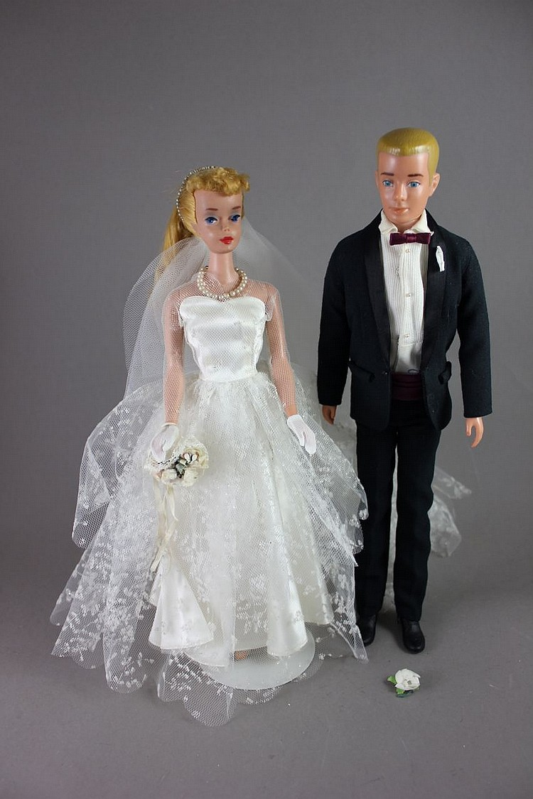 (2) BARBIES - KEN IN #787 TUXEDO AND #4 PONYTAIL IN #972 WEDDING DAY SET