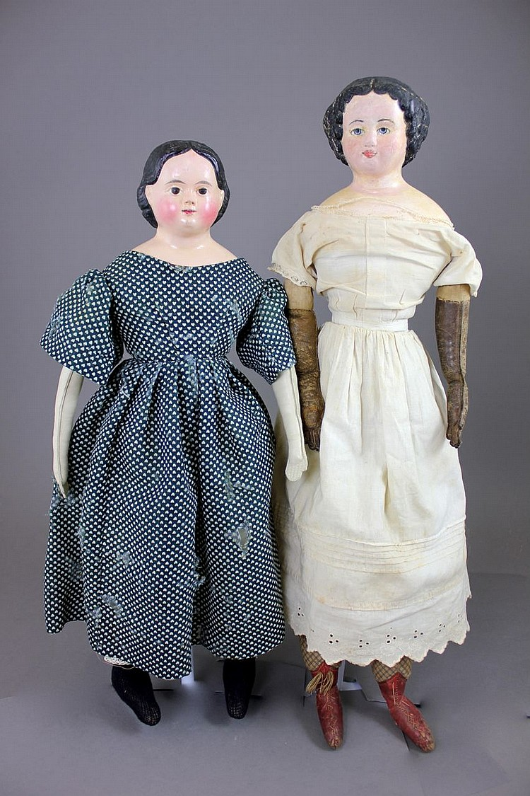 (2) PAPIER MACHE SHOULDERHEAD DOLLS