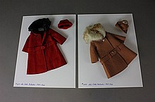 TWO BARBIE ENSEMBLES INCLUDING IT'S COLD OUTSIDE #0819 (1964-1966)  IN BROWN AND RED