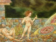 Original oil painting by Gary Slipper (Untitled nudes, garden scene)