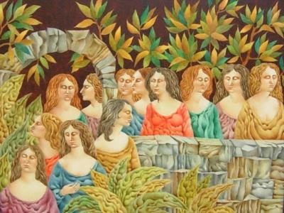 Original oil painting by Gary Slipper - The Sleep Walkers