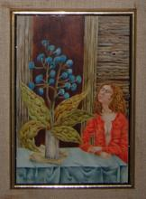 Original oil painting by Gary Slipper - Untitled (woman with blue flowers)