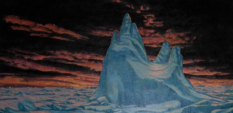 Original oil painting by Paul Rodrik - Untitled (iceberg with orange sky)