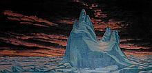 Original oil painting by Paul Rodrik - Untitled (iceberg with orange sky)
