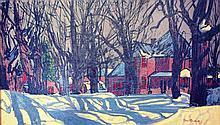 Original oil painting by Paul Rodrik - Untitled (snowy street scene)