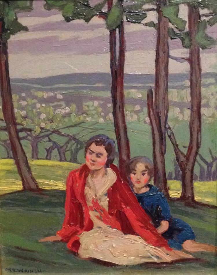 Original oil painting by Mary E. Wrinch - Blossom Time (Daughters of C. W. Jeffries)