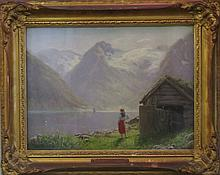 Beautiful Norwegian Lake and Mountain Scene by Hans Andreas Dahl