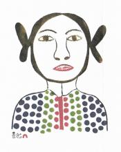Young Girl - Stonecut print by Eegyvudluk Ragee