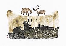 Caribou Hunt - Cape Dorset Print by Pitseolak Ashoona