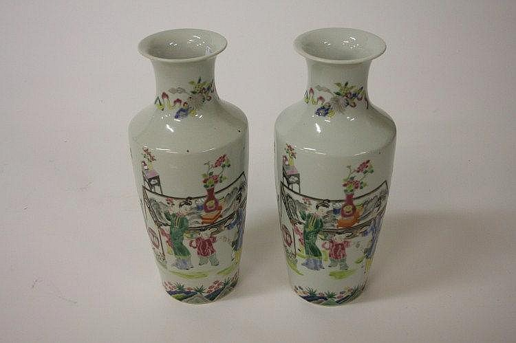 A PAIR OF FAMILLE ROSE PORCELAIN VASES, each with
