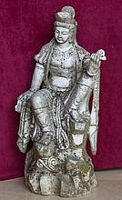 A HEAVY CARVED CHINESE WHITE MARBLE FIGURE OF A