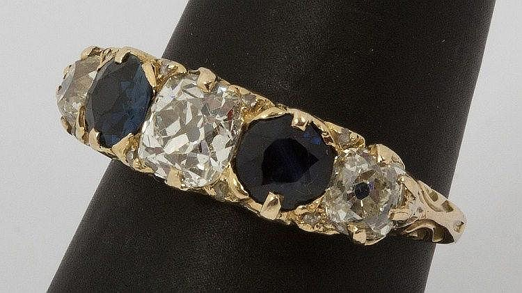 A GOOD VICTORIAN FIVE STONE SAPPHIRE AND DIAMOND