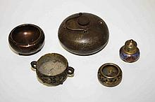 A CHINESE BRONZE HAND WARMER, decorated with gilt,