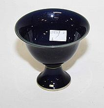 A CHINESE POWDER BLUE PORCELAIN STEM CUP, 3.75in