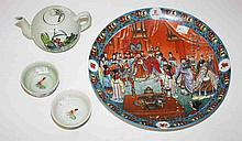 A CHINESE PORCELAIN TEA POT, two chicken tea bowls