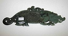 A CARVED AND PIERCED CHINESE GREEN JADE PANEL, in