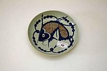 A CHINESE CELADON GROUND PORCELAIN DISH, decorated