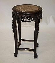A CHINESE CHERRYWOOD JARDINIERE OR BOWL STAND,