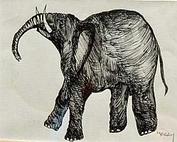 BRIAN MERRY, 20th/21st century, Elephant, pen and