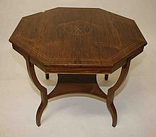 AN EDWARDIAN INLAID ROSEWOOD CENTRE TABLE, the