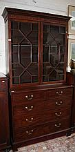A MAHOGANY BOOKCASE ON CHEST, George IV period,