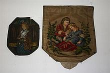 A VICTORIAN GROS AND PETIT POINT TAPESTRY PANEL,
