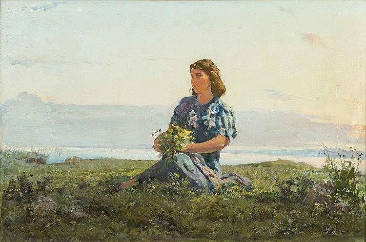 GRIKOR KHORENI AGHASSIAN, Coastal Scene, Woman