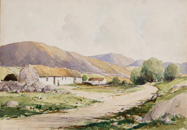 ROWLAND HILL ARUA (1915-1979),  Donegal Mountains, with thatched cottages a