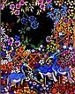Doon Fergusson Blue Birds Gouache painting 50 x