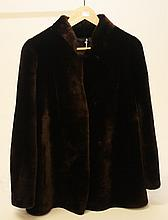 AN ATTRACTIVE LADIES BROWN FUR JACKET, with